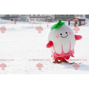 Maskot velké bílé zelené a růžové ředkvičky - Redbrokoly.com