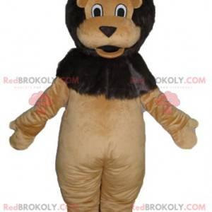 Měkký a roztomilý obří hnědý a černý lev maskot - Redbrokoly.com