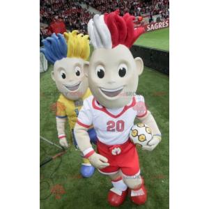 2 fodboldspiller maskotter med farvet hår - Redbrokoly.com