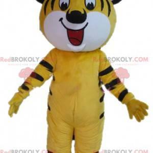 Sehr lächelndes gelbes weißes und schwarzes Tigermaskottchen -
