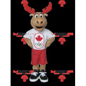 Brązowy łoś karibu maskotka z czerwonymi rogami - Redbrokoly.com