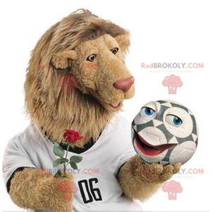 Lion mascot with a large hairy mane - Redbrokoly.com