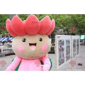 Maskot pěkně růžový a zelený lotosový květ - Redbrokoly.com