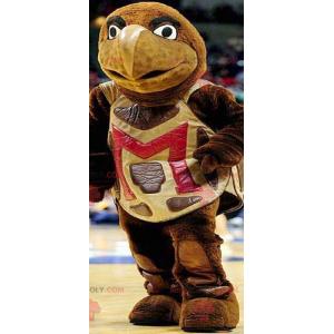 Mascote gigante tartaruga marrom e amarela - Redbrokoly.com