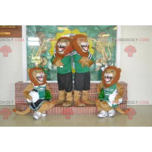 4 maskotki ryczącego lwa w odzieży sportowej - Redbrokoly.com