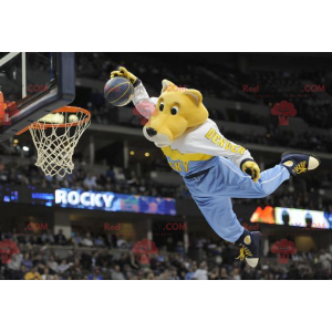 Yellow and white tiger mascot in colorful sportswear -