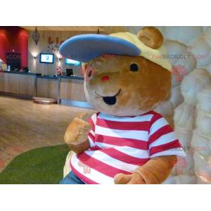 Braunes Teddybär-Maskottchen mit T-Shirt und Mütze -
