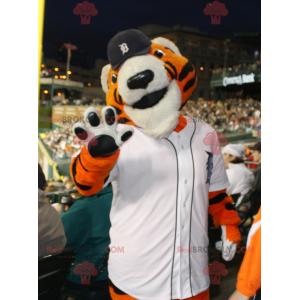 Oranžový bílý a černý tygr maskot ve sportovním oblečení -