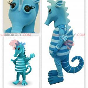 To-tone blå sjøhest maskot - Redbrokoly.com