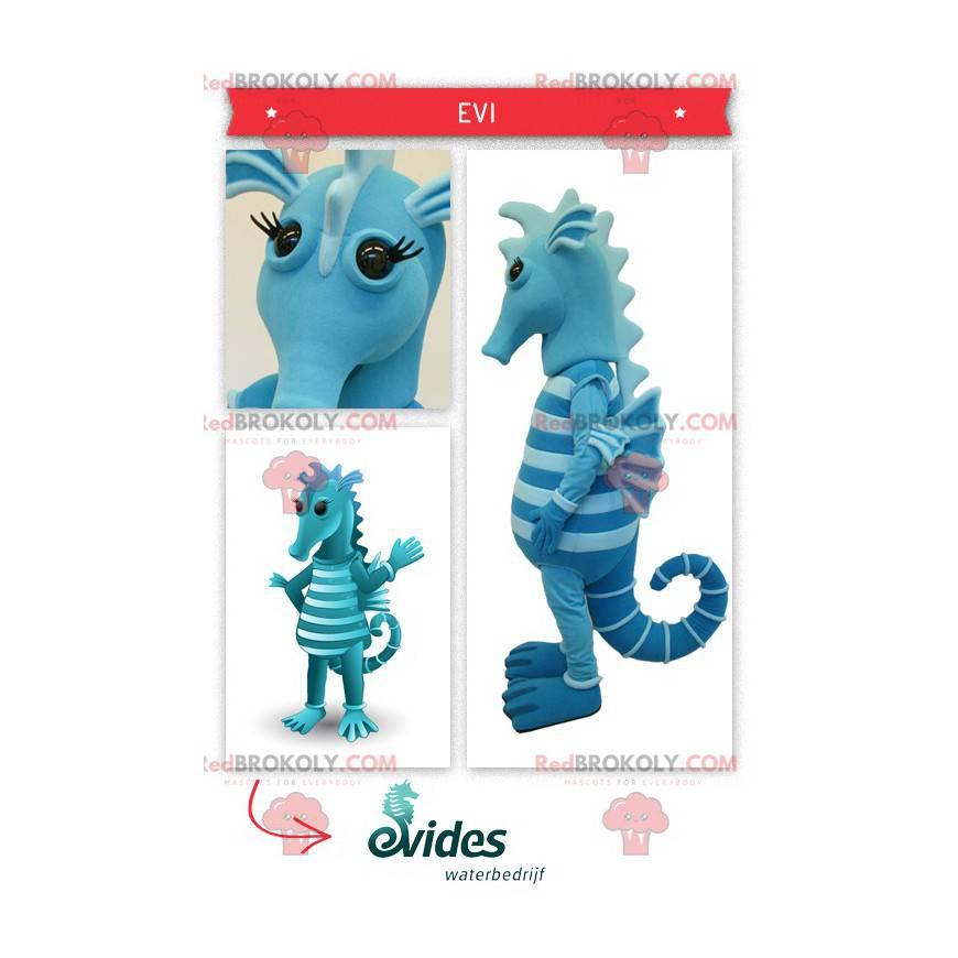 Dvoubarevný modrý maskot mořského koníka - Redbrokoly.com