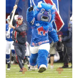 All hairy blue bull buffalo mascot - Redbrokoly.com