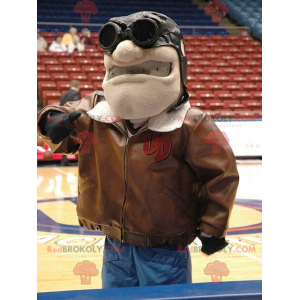 Aviator mascot with a brown jacket and glasses - Redbrokoly.com