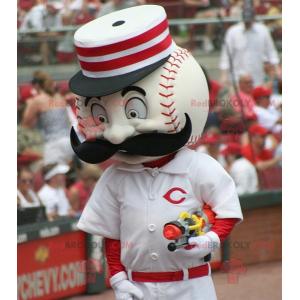 White and red baseball mascot - Redbrokoly.com