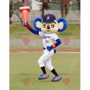 Mascote coala branco e azul em roupas esportivas -