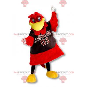 Riesiges rotes und gelbes Vogelmaskottchen - Redbrokoly.com