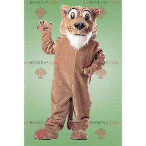 Giant brown and white tiger mascot - Redbrokoly.com