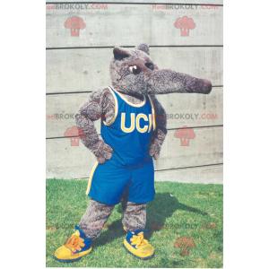 Graues Tapir-Maskottchen in blauer Sportbekleidung -