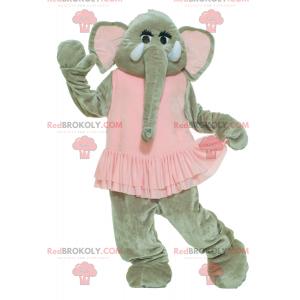 Graues Elefantenmaskottchen im rosa Kleid - Redbrokoly.com
