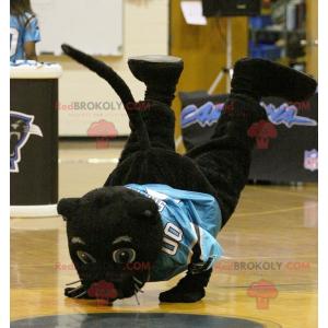 Maskot černý panter s modrým dresem - Redbrokoly.com