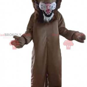 Obří hnědý a bílý lev maskot - Redbrokoly.com
