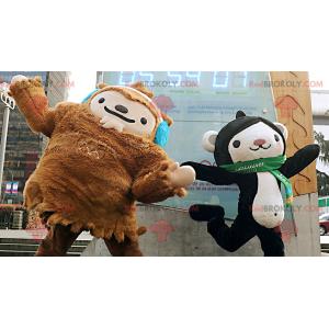 2 maskoti, hnědý yeti a černobílá opice - Redbrokoly.com