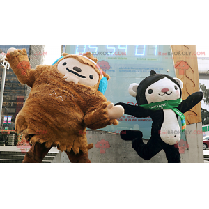 2 maskotki: brązowy yeti i czarno-biała małpa - Redbrokoly.com