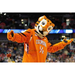 Orange schwarz-weiß dreifarbiges Tiger-Maskottchen -