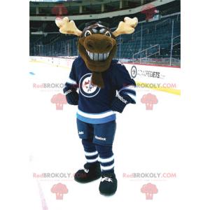 Brązowy renifer karibu maskotka w stroju do hokeja -