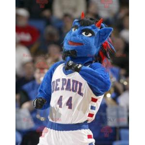 Blue man mascot blue creature with horns - Redbrokoly.com