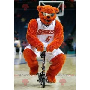 Oranžový medvěd maskot s brýlemi v basketbalové oblečení -
