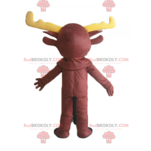 Caribou brown reindeer mascot with yellow antlers -