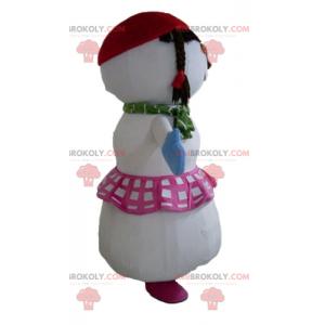 Maskot velký sněhulák s sukní a copánky - Redbrokoly.com