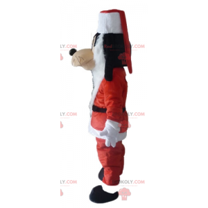 Goofy mascotte Mickey's vriend in kerstman-outfit -