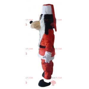 Praštěný maskot Mickeyho kamarád v kostýmu Santa Clause -