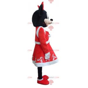 Mascote da Minnie Mouse vestida com roupa de Natal -