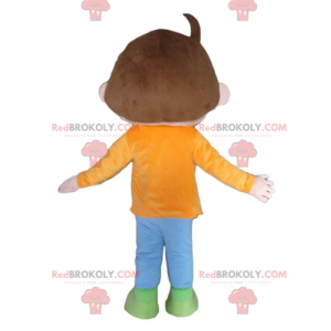 Brown boy mascot with an orange blue and green outfit -