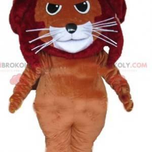 Červené a bílé hnědé kočičí lev maskot - Redbrokoly.com