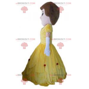 Prinsesse kvindelig maskot i gul kjole - Redbrokoly.com