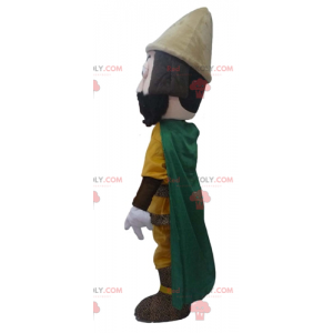 Knight mascot with a yellow outfit and a green cape -
