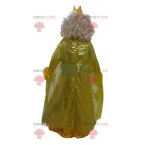 Princess queen mascot in yellow dress with a crown -
