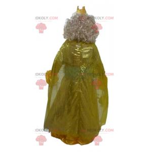 Princezna královna maskot ve žlutých šatech s korunou -