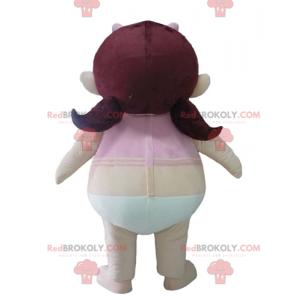 Maskot dívka v kalhotkách s růžovým tričkem - Redbrokoly.com
