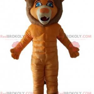 Orange und braunes Löwenmaskottchen mit blauen Augen -