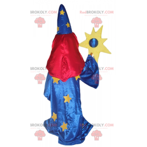 Magician mascot in blue dress with a veil on the eyes -