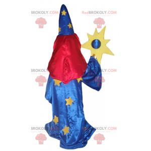 Maskot kouzelníka v modrých šatech se závojem na očích -