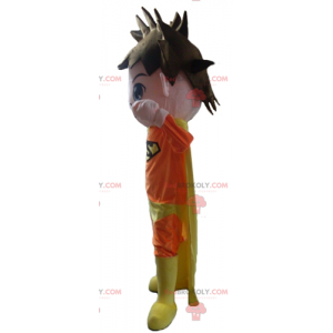 Superhero mascot dressed in orange and yellow - Redbrokoly.com