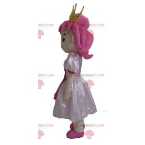 Mascotte de princesse aux cheveux roses avec une jolie robe -