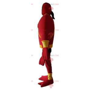 Červené a žluté fantastické stvoření maskot se 4 rameny -