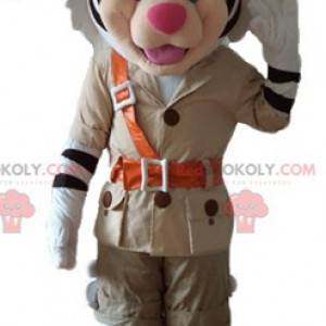 White and black tiger mascot in explorer outfit - Redbrokoly.com