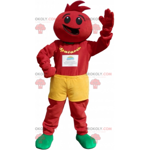 All red snowman mascot with yellow shorts - Redbrokoly.com